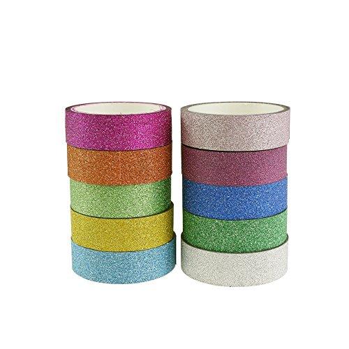 Deko Glitter Washi Tape selbstklebendes Papier Masker Tape 10Rollen 1,5cm * 3M für Scrapbooking, DIY Handwerk, Geschenkverpackungen 01