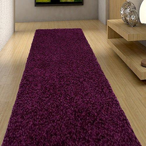 Alfombra De Pasillo Moderna Shaggy Colección Art - Color Púrpura Oscuro De Diseño Plano - Mejor Calidad - Varias Dimensiones S-XXXL 80 x 50 cm