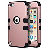 iPod 5 case, ULAK iPod Touch 6 Case 3in1 Hybrid Impact Shockproof Soft Silicone Bumper Case Hard PC Protective Cover for Apple iPod Touch 5th 6th Generation (Rose Gold + Black)