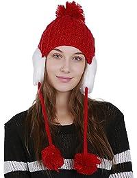 Kobay Berretto Invernale da Donna in Lana Calda Lavorato a Maglia  all Uncinetto per Proteggere 32f4b3407d3b