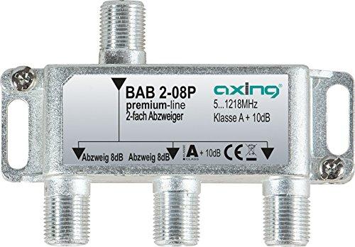 Axing BAB 2-08P 2-fach Abzweiger 8dB Kabelfernsehen CATV Multimedia DVB-T2 Klasse A+, 10dB, 5-1218 MHz metall