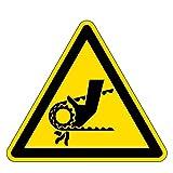 Warnzeichen - Warnung vor Einzugsgefahr durch Riemenantrieb - Aluminium - 10 x 10 cm