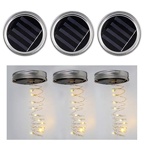 3 Pack Solar Mason Jar Deckel Fee Mason Solar String Licht Deckel Festival Garten Terrasse Hinterhof Hochzeit Party Decor LED Solar Lights