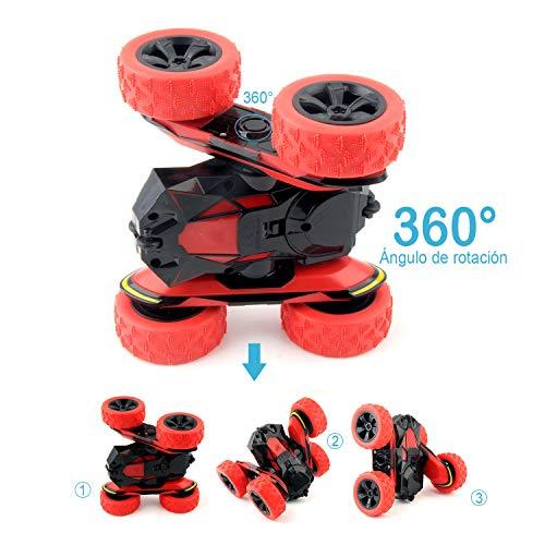 Rodzon RC Coche,Radio Control Remoto Coches 2.4GHz para Niños/Adultos,Doble Giro 360 Grados.(No bateria incluida) Rojo