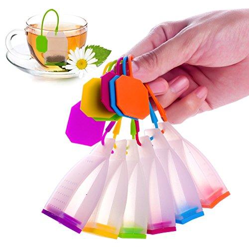 Silicone Tea Infuser Strainer, Meiso Silikon wiederverwendbare Teebeutel Candy Silikon Tee Infuser Sieb Set - echte Premium Loose Leaf Infuser Set in hellen Farben (6 Set) - beste Geschenk im Haus oder Büros