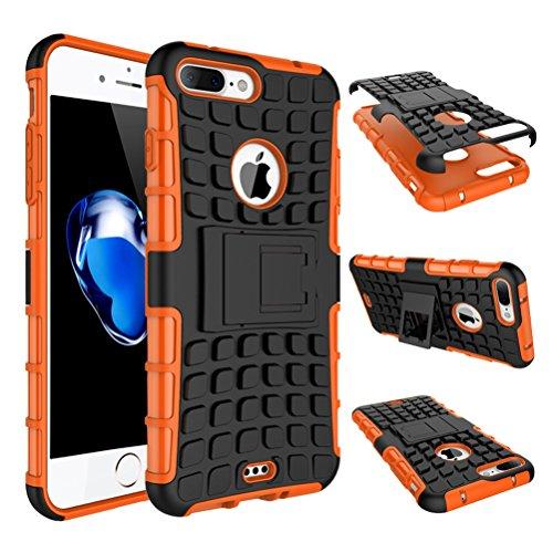 """iPhone 7 Plus Coque - WindCase Housse de Protection de Dual Layer d'Armure Lourde Étui avec Béquille Case pour iPhone 7 Plus 5.5"""" Vert Orange"""