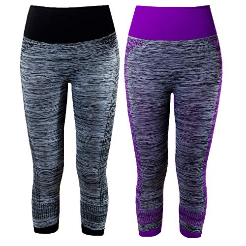 L&K-II Damen Leggings 3/4 Sporthose Strech Fitness Hose 4119 Laufhose Schwarz und Lila L/XL