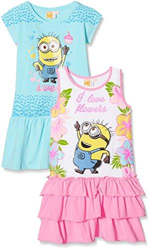 FABTASTICS Mädchen Kleid Minions, 2er Pack, Mehrfarbig (Mehrfarbig Mehrfarbig), (Minion Kleid)