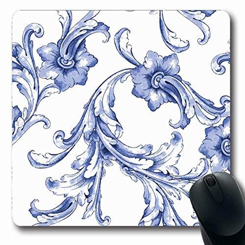 Mousepads Retro Blumen-Aquarell-Blau-Muster-Zusammenfassung Su er Weinlese-Blatt-Blumenfrühlings-Malerei-längliche Form-Rutschfeste Spiel-Mausunterlage Gummi-längliche Matte,Gummimatte 11,8