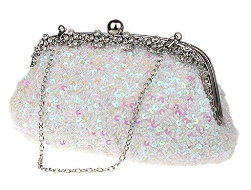 Damen Pailletten-Abend Taschen Party Kupplung, Weiß - weiß - Größe: weiß