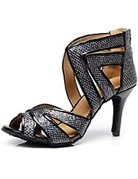JSHOE Mujeres Cristales bajo King satén Latin Zapatos de baile para salsa/Tango/Chacha/Samba/Zapatos de jazz Modern...