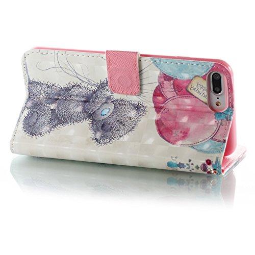 Custodia iPhone 7 Plus/iPhone 8 Plus (5.5), EUWLY Flip Cover Leather Wallet Case Custodia per iPhone 7 Plus/iPhone 8 Plus (5.5) in PU Pelle, Bling Bling Custodia Cover con Ultra Sottile Interno Sili Orso Grigio