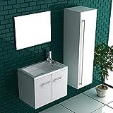 Badmöbel Minimo Handwaschbecken aus Mineralguss + Waschbeckenunerschrank mit SoftClose Funktion | Badezimmermöbel Set 2- teillig in Weiß | Alpenberger Design
