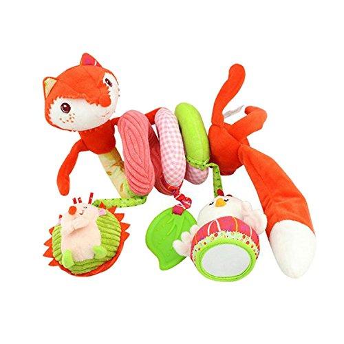 FYGOOD Baby Spirale Aktivität Plüschtiere Spielzeug, Babyschale, Kinderwagen und Reisen Spielzeug Fuchs mit weichem Spiegel 21x10CM