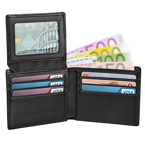 LAND BEAUTY Premium Herren Leder Geldbeutel l OHNE MÜNZFACH l EDLE Geschenk - UND AUFBEWAHRUNGSBOX l Schlanke Geldbörse die aufsehen erregt l