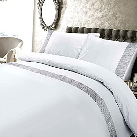 Petra Luxury Embroidered 200 Thread Count 100% Cotton Minimalist Design Duvet Cover and Pillowcases Set (White, King Duvet Cover