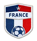 2er-Pack Frankreich Fussball / Abzeichen France 70 x 55 mm / Silber Stickerei für Équipe Tricolore, Fédération Française Football / Aufnäher Patch Bügelbild / französisch National Team Dress Trikot Flagge
