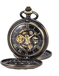 Montre de poche Mécanique Double Hunter Main-vent Bronze Roman Numérique Avec Chaîne Antique SIBOSUN + Boîte cadeau