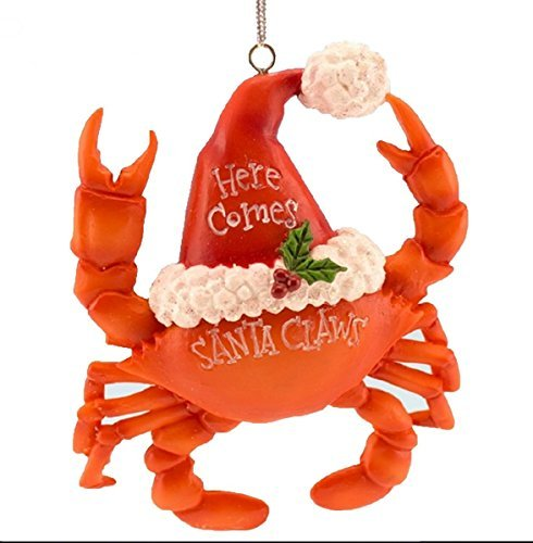 Beachcomber Hat - Crab Christmas Ornament Wearing a Santa
