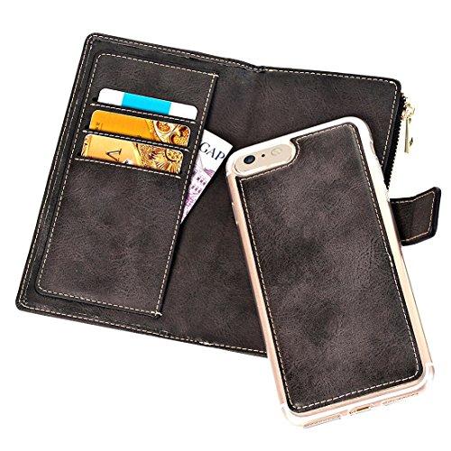 Buona Casa- Per iPhone 6 Plus & 6s Plus Retro Style Custodia in Pelle Crazy Horse Texture orizzontale con copertura posteriore separabile e Zip e porta carte e portafoglio e fibbia magnetica ( Color : Black