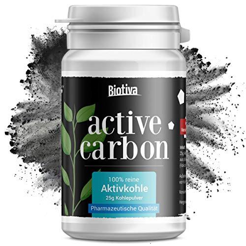 Aktivkohle Active Carbon | 25g Aktivkohle-Pulver | pharmazeutische Qualität - 100% rein, pflanzlich und natürlich - sehr hohe Adsorbtionswirkung - sehr ergiebig!