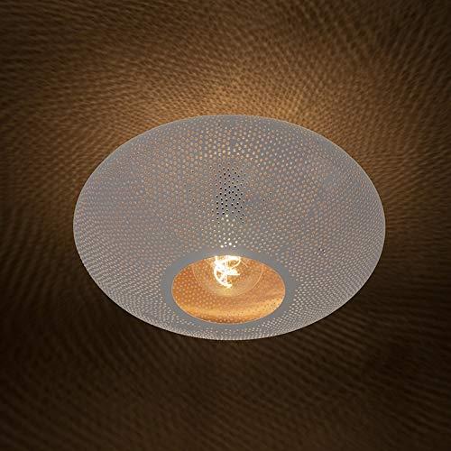 QAZQA Retro/Art Deco Orientalische runde Deckenleuchte/Deckenlampe/Lampe/Leuchte 40cm weiß mit kupfer - Radiance/Innenbeleuchtung/Wohnzimmerlampe/Schlafzimmer/Küche Metall Rund LED gee