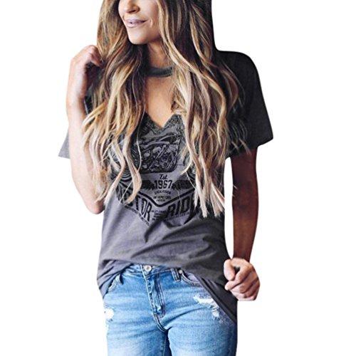 OSYARD Damen Kurzarm Halsband V-Ausschnitt Bluse Stilvolle Print TopsT-Shirts(EU 38 / S, Grau)