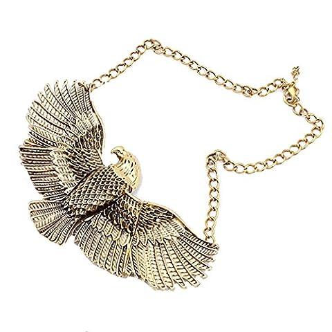 YAZILIND Vintage Personality Jewelry Bronze Eagles Fly Retro Short Animal Punk Necklace