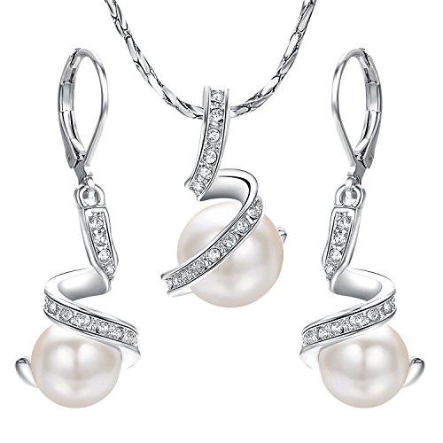 Yoursfs Chapado Oro blanco Conjunto Collar Pendiente