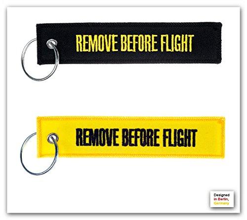 porte-cles-remove-before-flight-lot-de-2-noir-jaune