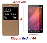 YuniKase (COMBO OFFER) for Xiaomi Redmi 4A / Xiaomi Redmi 4a - - - Window Leather Finish Flip Cover Case ( Gold ) + Premium Tempered Glass screen Protector - - - ( Transparent )
