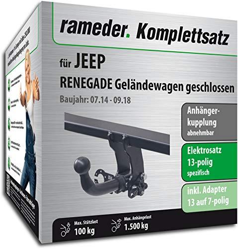 Rameder Komplettsatz, Anhängerkupplung abnehmbar + 13pol Elektrik für Jeep Renegade Geländewagen geschlossen (141451-13019-1)