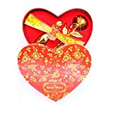 #10: golden rose with vase metallic in heart shape box for valentine day, girlfriend boyfriend, wife, loveones, birthday
