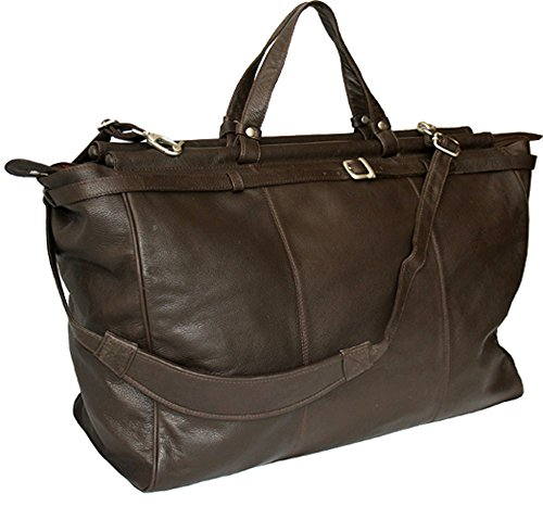 BROWN LEATHER LARGE TOP ROD HOLDALL / DUFFLE / CABIN BAG