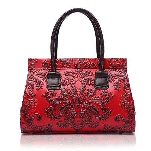 APHISON Designer-Handtasche aus echtem Leder, geprägt, Blumenmuster, klassisch, für Damen X093, Rot (rot), Medium -