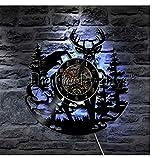 WJUNM1 Wapiti Horloge Murale Vinyle Chasseur Maison décoration décoration andouiller rétro Horloge de Vinyle Animal Mur Art Cadeau Fait à la Main...