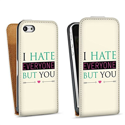 Apple iPhone 4 Housse Étui Silicone Coque Protection Phrase Amour haine C½ur Sac Downflip blanc