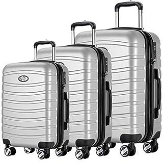 Andreas Dell REISEKOFFER REISEKOFFERSET Trolley Koffer 3 Set XL L M Kofferset REISEKOFFER Silber TSA Schloß