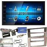 JVC KW-M24BT Bluetooth USB MP3 Autoradio iPhone iPod Doppel Din Einbauset für Ford Focus C-Max Fiesta Transit, Farbe der Radioblende:Silber