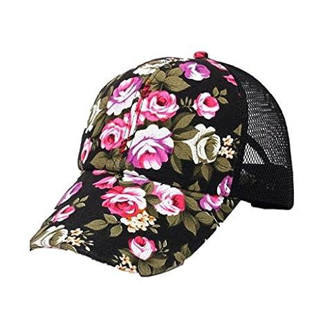 Casquettes De Baseball,OverDose Femmes Casquette Visière imprimé floral Snapback Hip Hop Cap Cotton Hat