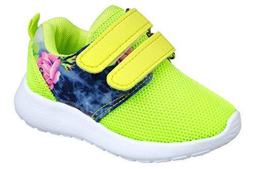 Sapatos Crianças Gr Velcro 25 Gibra® Néon Desportivos 36 Flores De Rw4fr5wq