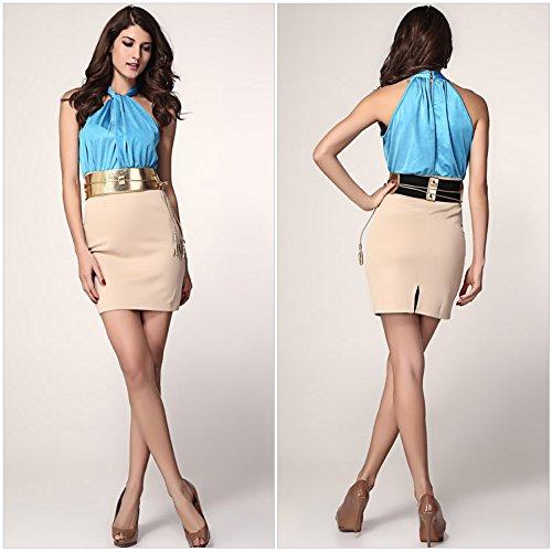Lemandy - Robe - Sans Manche - Femme taille unique Bleu