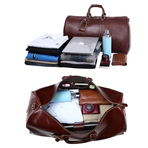 Leathario Herren Ledertasche Reisetasche Sporttasche Handgepäck Reisegepäck Umhängteasche Handtasche Braun