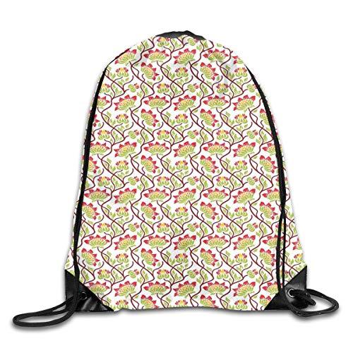 Drawstring Backpack Gym Bags Storage Backpack, Boho Vibrant Japanese Asian Flower Spring Leaf Foliage Rural Ethnic Style Art,Deluxe Bundle Backpack Outdoor Sports Portable Daypack