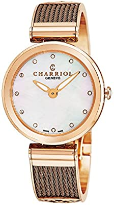 Charriol Forever Womens Stainless Steel Rose Gold Watch - 32mm Analog Mother of Pearl Face Ladies Dress Watch with Fake Diamonds - Bronze Twisted Cable Band Swiss Quartz Luxury Watch for Women