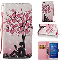 HUAWEI P8 Lite 2017 Case, Iddi-Case Fashion Cute Pattern Luxury Pu Leather Wallet Magnetic Design Flip Folio Protective Case Cover with Card Holder - The girls under tree