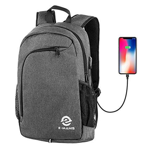 E-MANIS Mochila para portátiles, Mochila para Ordenador portatil 15.6 Pulgadas USB Mochila de Portátil Bolso Impermeable Bolsa Viajes para Colegio Viaje Negocios, Diario, Ocio,Estudiantes/Hombre(Gris)