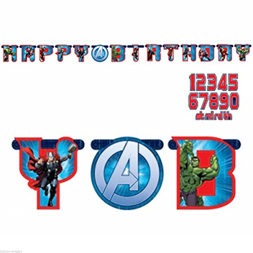 Guirlande Happy Birthday Avengers 1.6 Mètres - Taille Unique