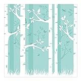 Fototapete Wald - Grüner Birkenwald mit Schmetterlingen und Vögel - Vliestapete Quadrat, Größe HxB: 240cm x 240cm