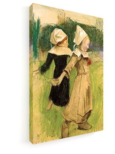 Paul Gauguin, Studie für Bretonische Mädchen beim Tanz - 20x30 cm - Leinwandbild auf Keilrahmen - Wand-Bild - Kunst, Gemälde, Foto, Bild auf Leinwand - Alte Meister / Museum